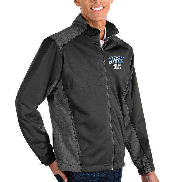Indianapolis Colts Antigua NFL 100 Revolve Full-Zip Jacket - Charcoal/Heather Charcoal