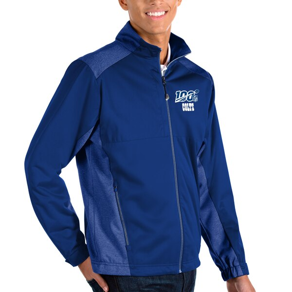 Indianapolis Colts Antigua NFL 100 Revolve Full-Zip Jacket - Royal/Heather Royal
