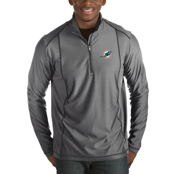 Miami Dolphins Antigua Tempo Big & Tall Half-Zip Pullover Jacket - Heather Charcoal