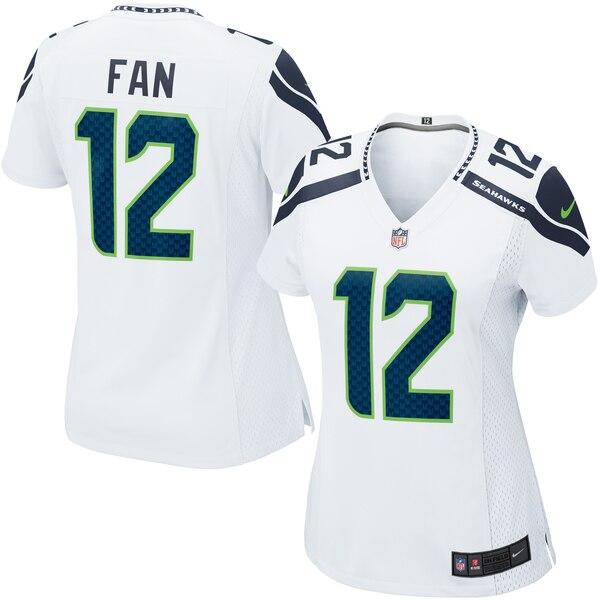 Fan 12 Seattle Seahawks Nike Women's Game Jersey - White