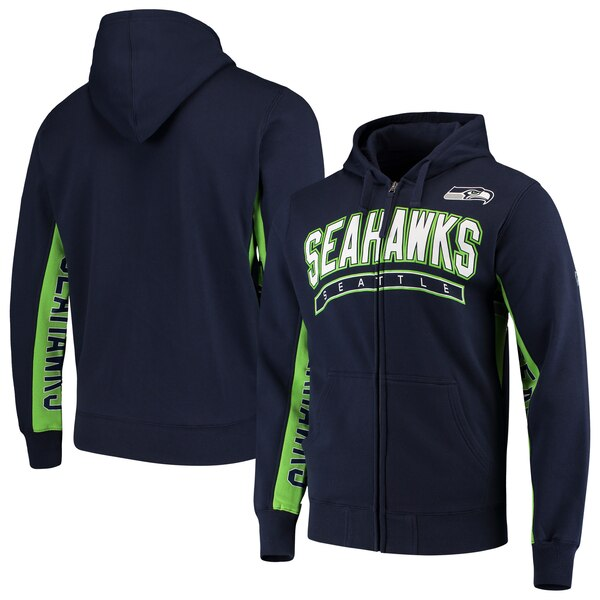 Seattle Seahawks Hands High Blowout Full-Zip Hoodie - College Navy/Neon Green