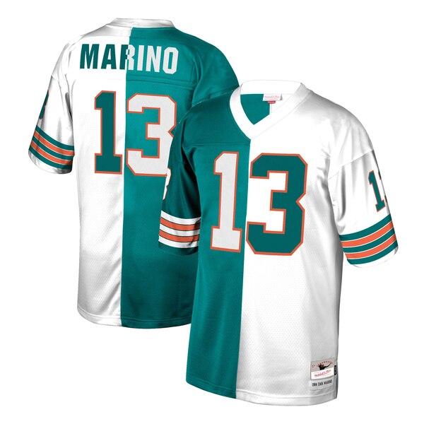Dan Marino Miami Dolphins Mitchell & Ness Retired Player Split Replica Jersey - Aqua/White