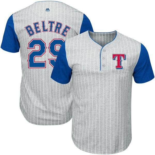 Adrian Beltre Texas Rangers Majestic Big & Tall Pinstripe Player T-Shirt - Gray/Royal