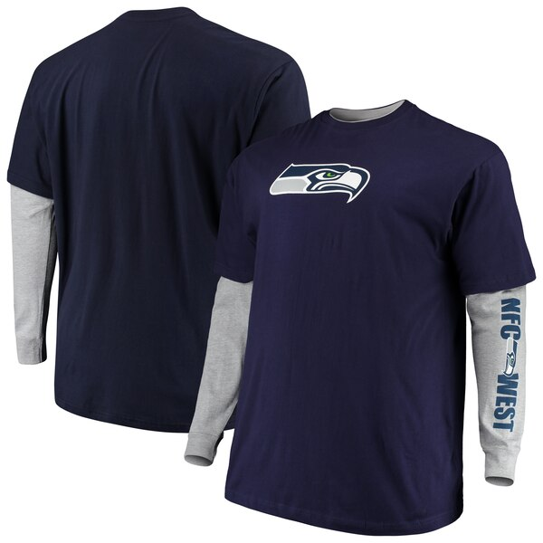 Seattle Seahawks Majestic Big & Tall T-Shirt Combo Set - College Navy/Heathered Gray