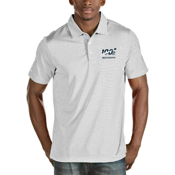 Seattle Seahawks Antigua NFL 100 Quest Polo - White/Silver