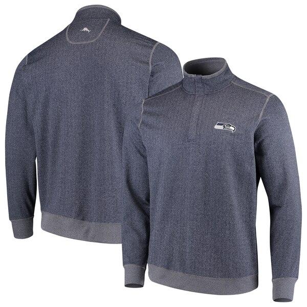 Seattle Seahawks Tommy Bahama ProFormance Half-Zip Pullover Jacket - Heathered College Navy