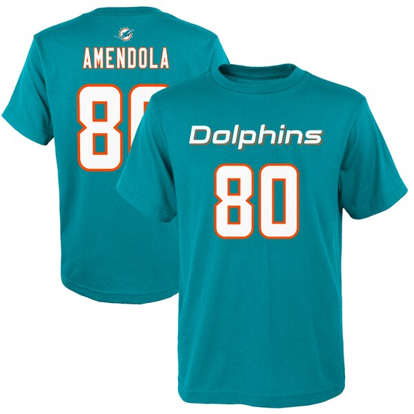Danny Amendola Miami Dolphins Youth Mainliner Player Name & Number T-Shirt - Aqua