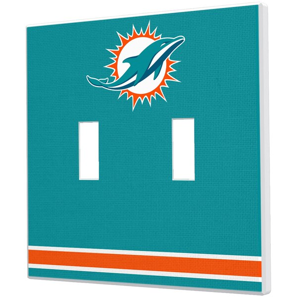 Miami Dolphins Stripe Double Toggle Light Switch Plate