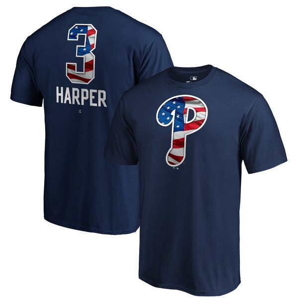 Bryce Harper Philadelphia Phillies Fanatics Branded 2019 Stars & Stripes Banner Wave Name & Number T-Shirt - Navy