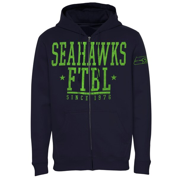 Seattle Seahawks Front And Sleeve Full Zip Jacket - College Navy