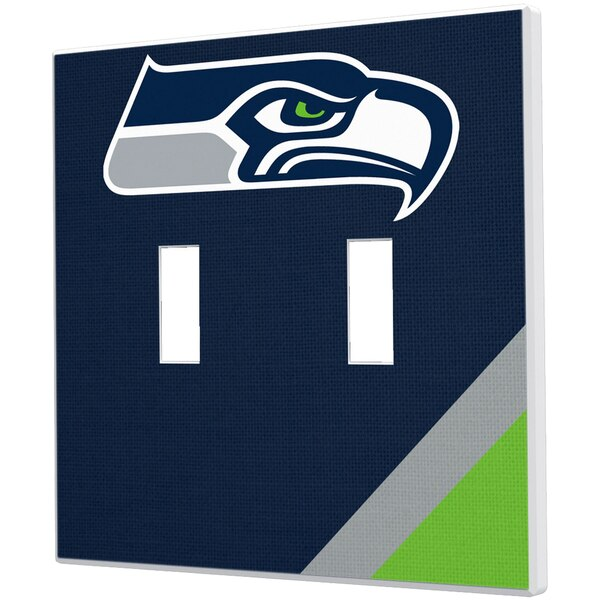 Seattle Seahawks Diagonal Stripe Double Toggle Light Switch Plate
