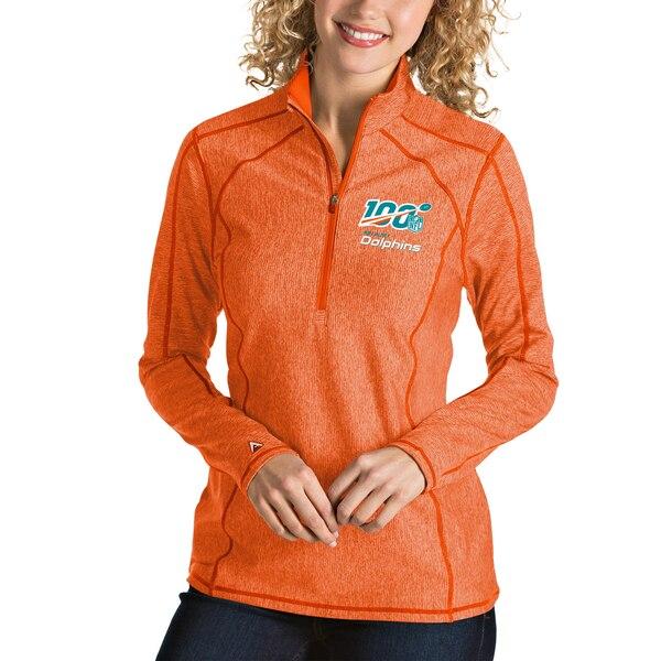 Miami Dolphins Antigua Women's NFL 100 Tempo Half-Zip Pullover Jacket - Heather Orange