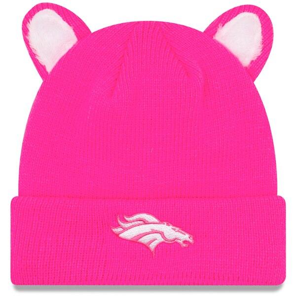 Denver Broncos New Era Girls Toddler Cozy Cutie Cuffed Knit Hat - Pink