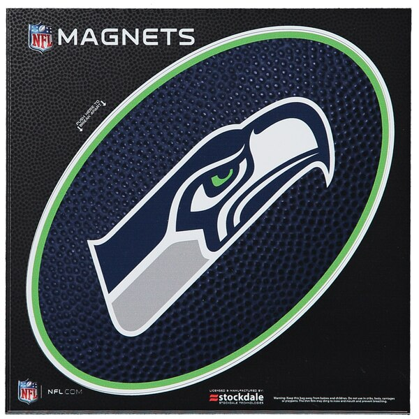 """Seattle Seahawks Teamball 6"""" x 6"""" Oval Full Color Magnet"""