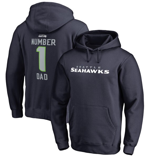 Seattle Seahawks NFL Pro Line by Fanatics Branded Big & Tall Number 1 Dad Pullover Hoodie - Navy
