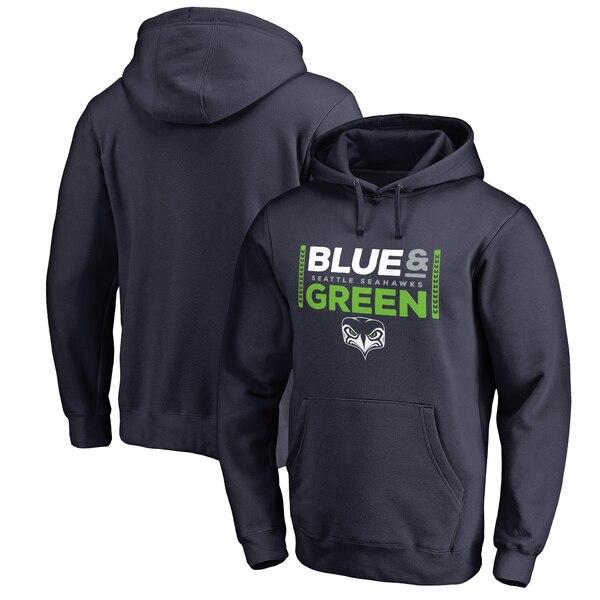 Seattle Seahawks NFL Pro Line by Fanatics Branded Alternate Team Logo Gear Blue & Green Big & Tall Pullover Hoodie - College Navy