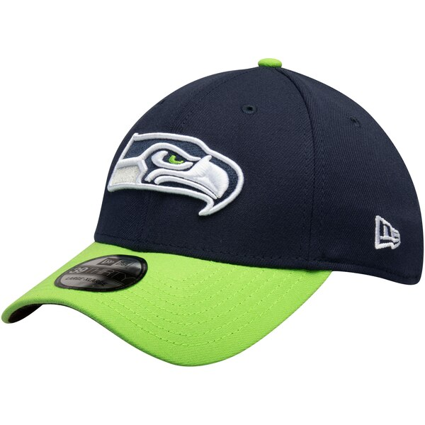 Seattle Seahawks New Era Team Classic Two-Tone 39THIRTY Flex Hat - College Navy/Neon Green